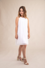 Chiffon a Line Dress in White.