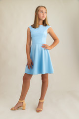 Blue Cap Sleeve Dress in Longer Length.