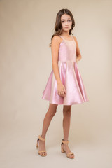 Pink Iridescent Thick Strap Party Dress in Longer Length .