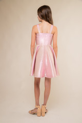 Pink Iridescent Thick Strap Party Dress in Longer Length