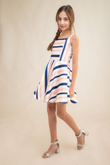 Square Neck Stripe Party Dress with Matching Mask.