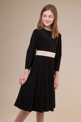 Black Pleated Dress with Detailed Sleeve in Longer Length with belt.