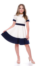 Short Sleeve Ivory and Navy Color-Block Dress in Longer Length.