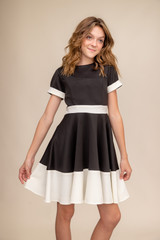 Short Sleeve Black and Ivory Color-Block Dress in Longer Length.