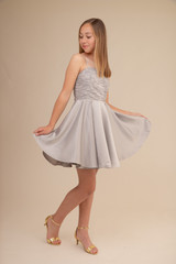 Silver Beaded Dress with Satin Skirt in Longer Length.