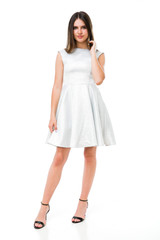 Silver Cap Sleeve Dress in Longer Length