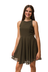 Olive Chiffon Tank Dress in Longer Length.