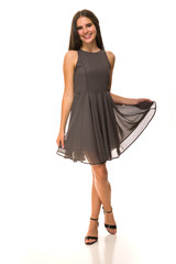 Charcoal Chiffon Tank Dress in Longer Length.