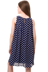 Chiffon A Line Dress in Navy Polkadot.