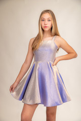 Purple Iridescent Thick Strap Party Dress in Longer Length