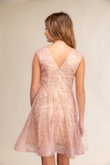 Rose Gold Glitter Cap Sleeve Dress with Overlay.