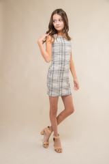 Fitted Tweed X-Back Dress