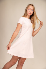 Pink and Ivory Short Sleeve Flare Dress in Longer Length.