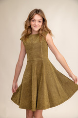 Gold Glitter Cap Sleeve Dress in Longer Length.