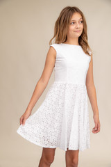 White Lace Cap Sleeve Dress in Longer Length