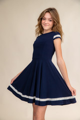 Navy Short Sleeve Dress with Ivory Lace in Longer Length
