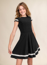 Black Short Sleeve Dress with Ivory Lace in Longer Length