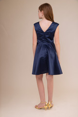 Navy Satin Cap Sleeve Dress in Longer Length