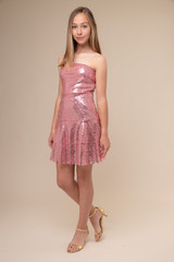 Pink Sequin Bow Back Dress.