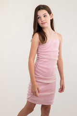 Blush Pink Glitter Ruched Dress in Longer Length