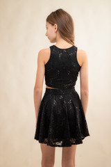Black Sequin Cropped Lace Top and Skater Skirt Set