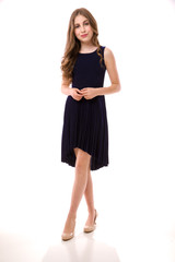 Navy Pleated High Low Dress.