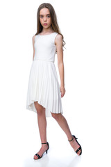 Ivory Pleated High Low Dress.