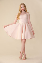 Pink Quilted Strapless Dress in Longer Length.