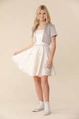 Silver and Ivory Floral Fit and Flare Dress in Longer Length