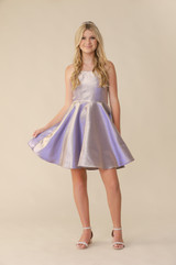 Lilac Iridescent Fit and Flare Dress in Longer Length