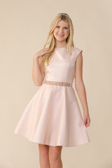 Blush Pink Quilted Cap Sleeve Dress in Longer Length