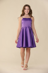 Purple Satin Fit and Flare Dress in Longer Length