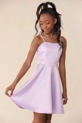 Lilac Satin Fit and Flare Dress in Longer Length.