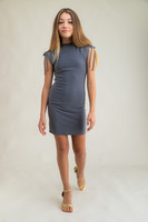 Tween Girls Charcoal Mesh Ruched Dress in Longer Length full view.