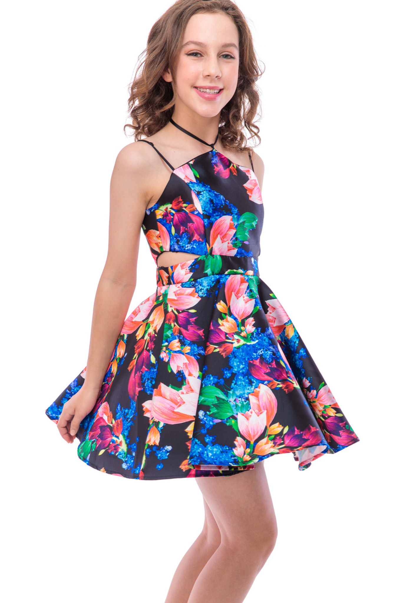 Wild with Roses Halter Dress (T3616KP)