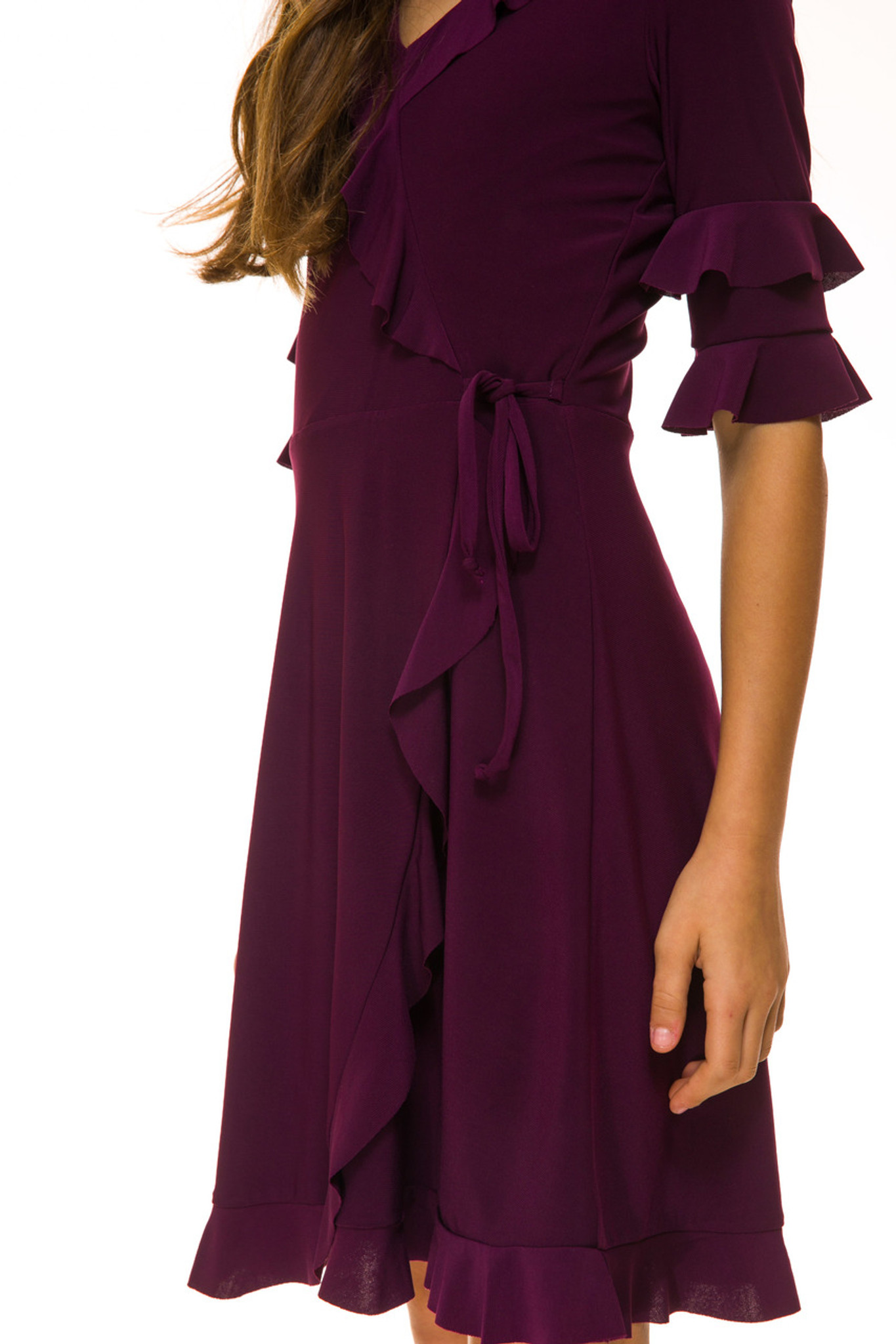 Plum Wrap Dress in Longer Length