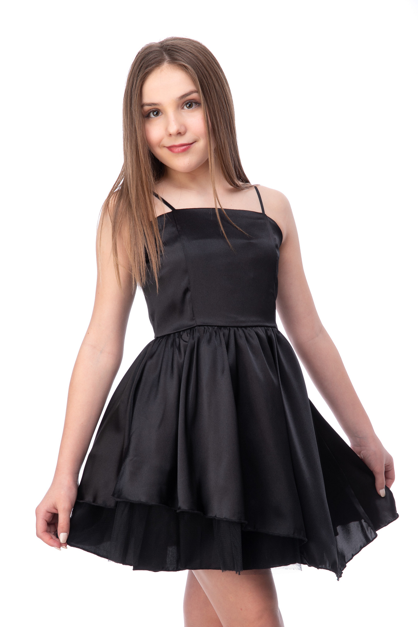 Black Satin Party Dress with Tulle.