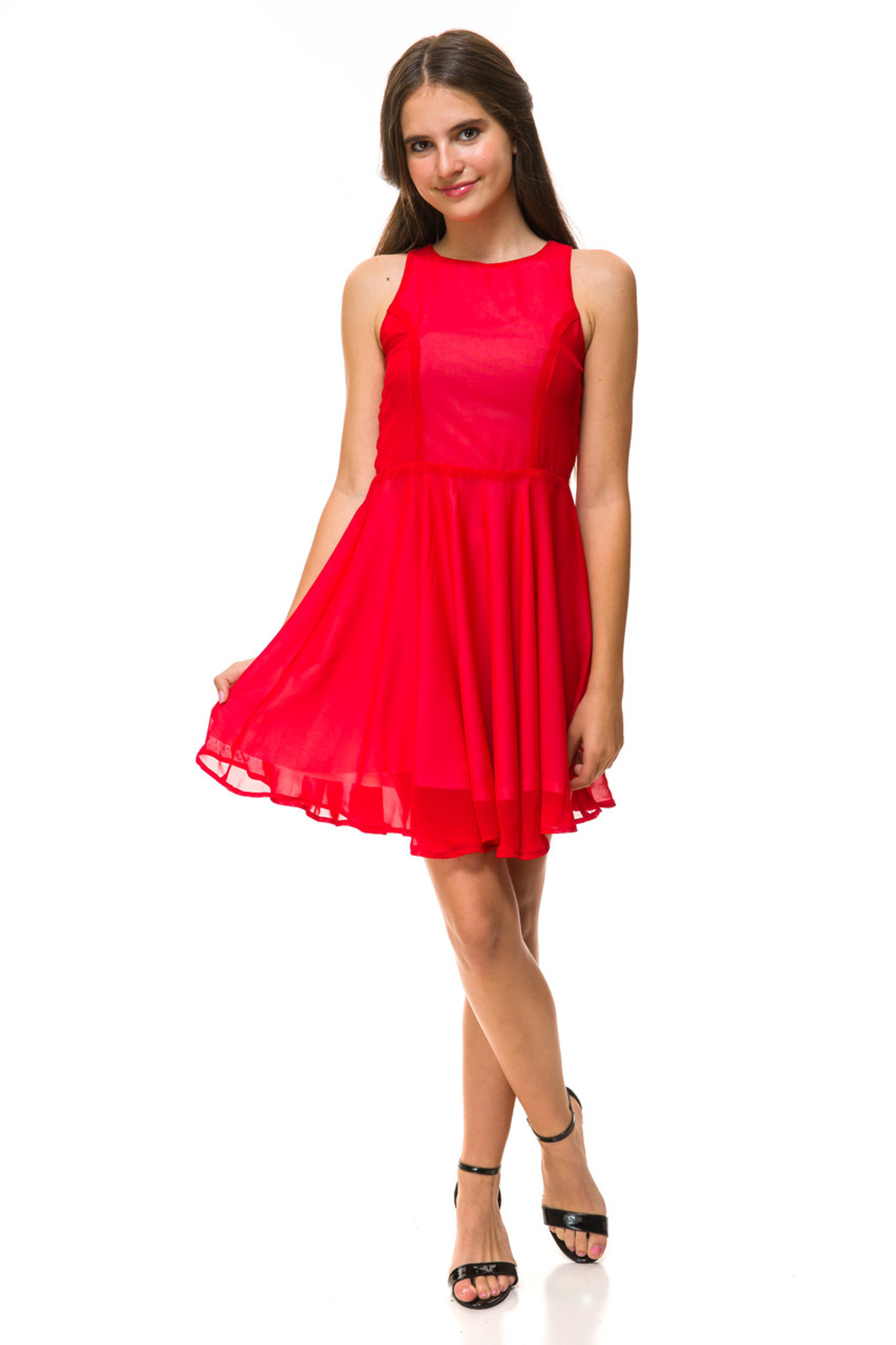 Red Chiffon Tank Dress in Longer Length