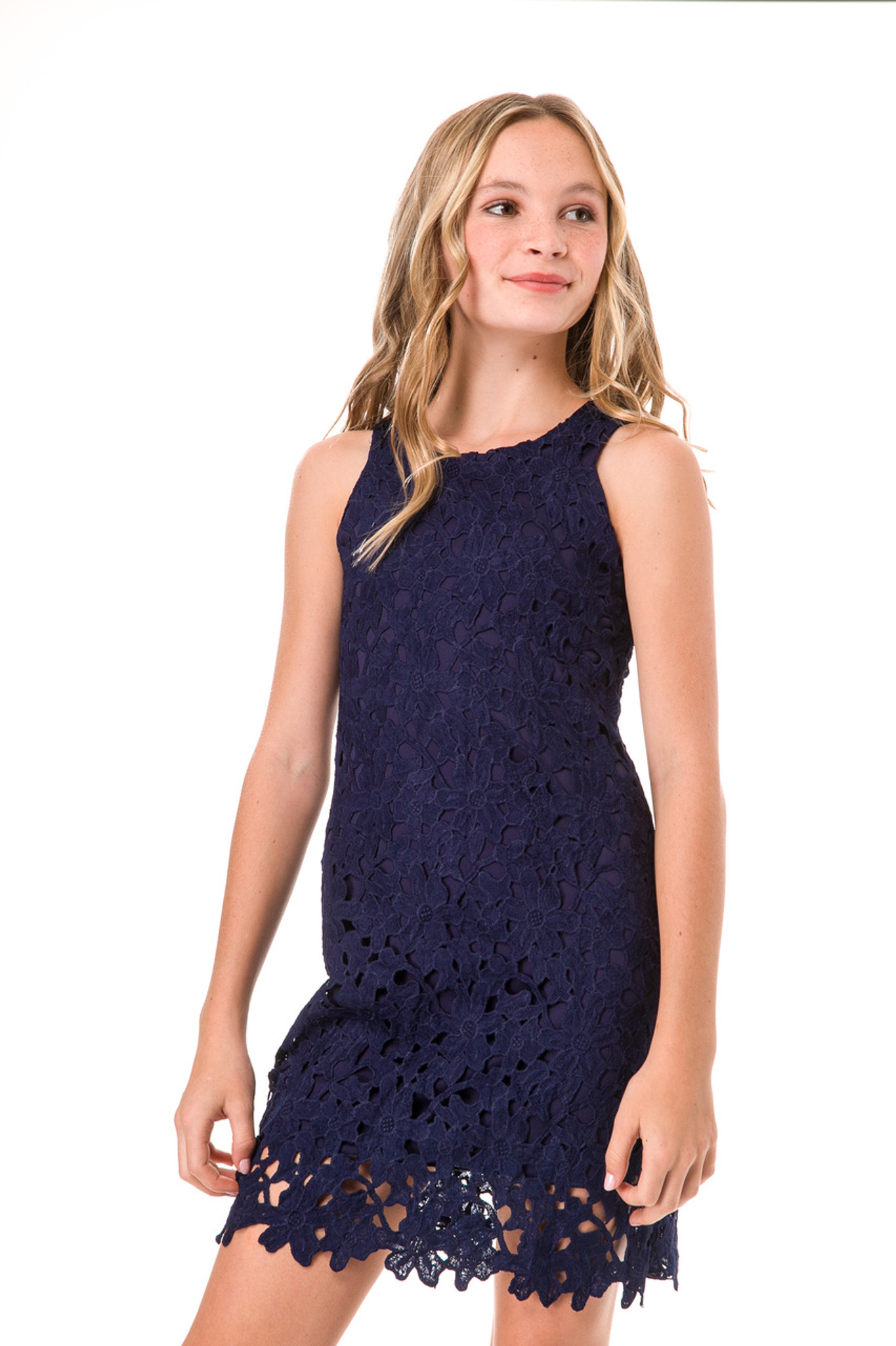 Navy Lace Shift Dress