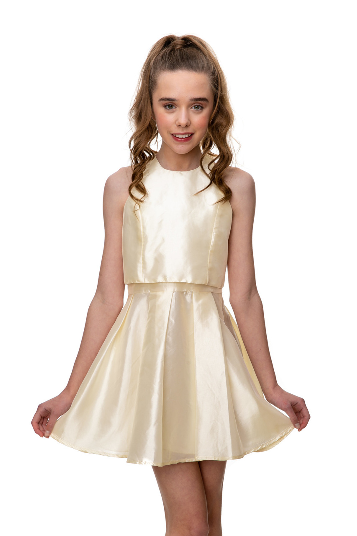 Junior Girls Champagne Pleated Skater Dress