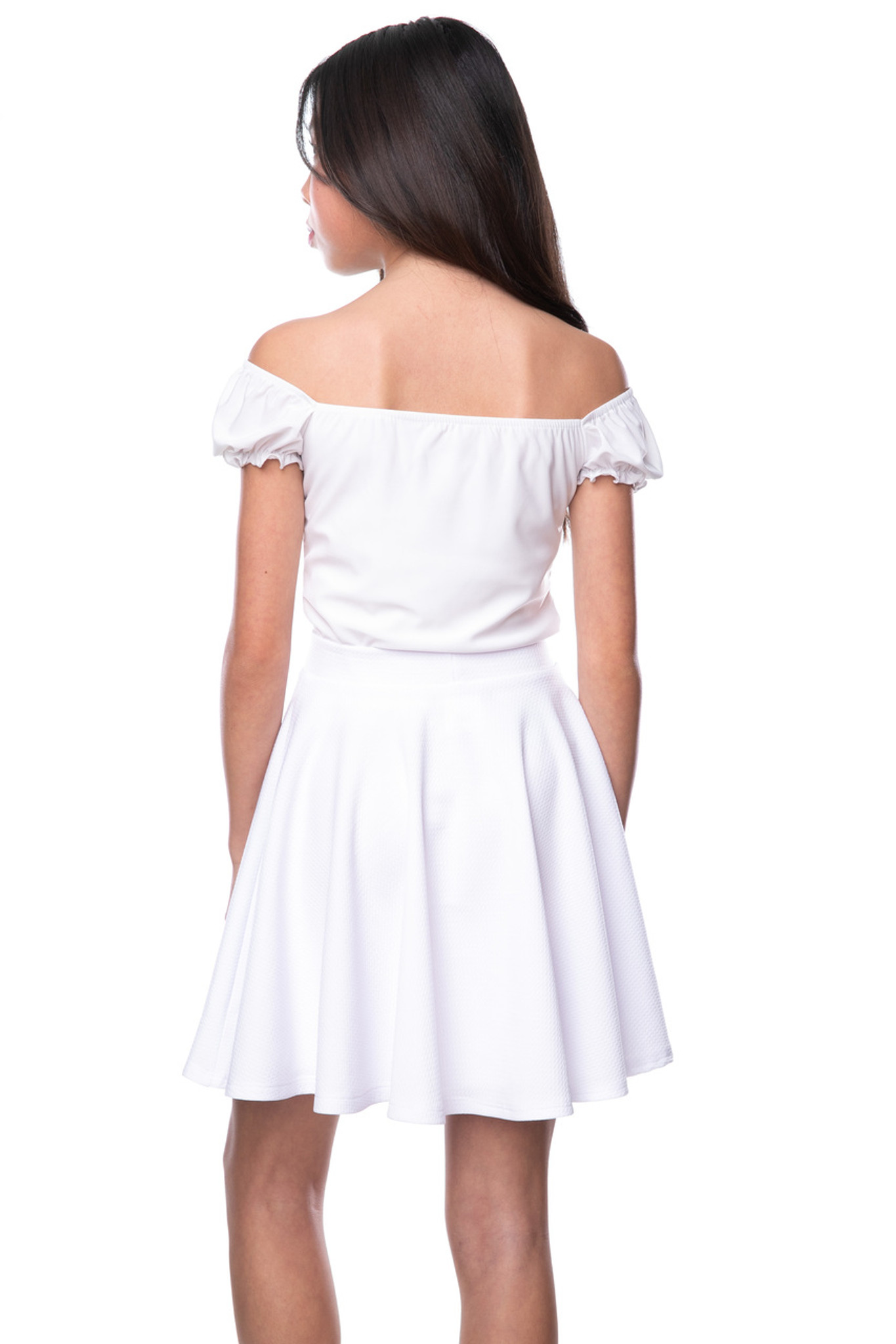 Tween Girls White Textured Skater Skirt in Longer Length