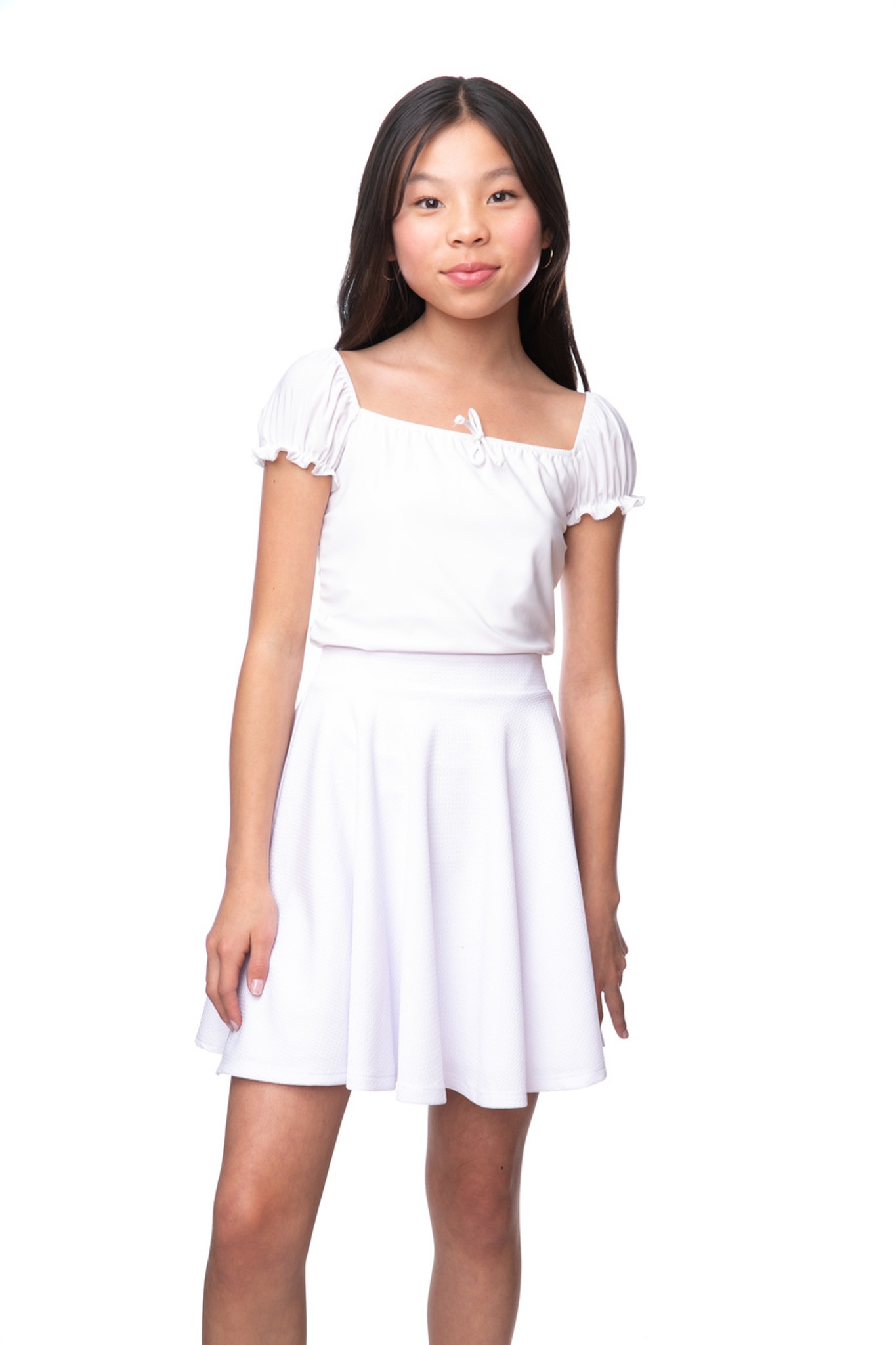Tween Girls White Short Sleeve Bow Top