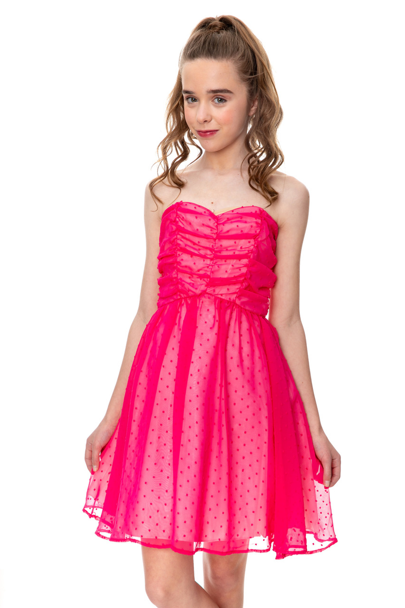 Junior Girls Hot Pink Dotted Party Dress