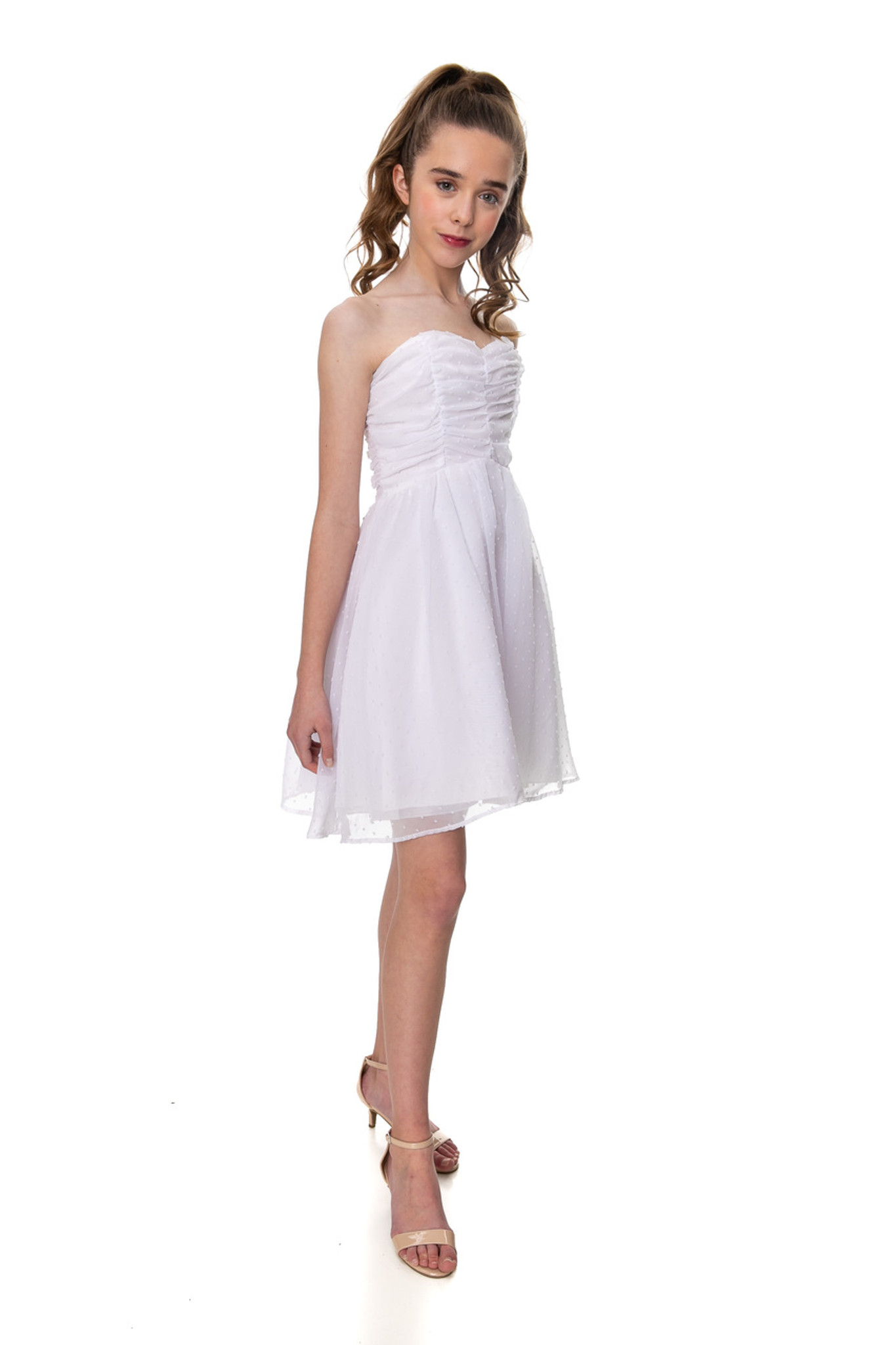 Junior Girls Winter White Dotted Party Dress