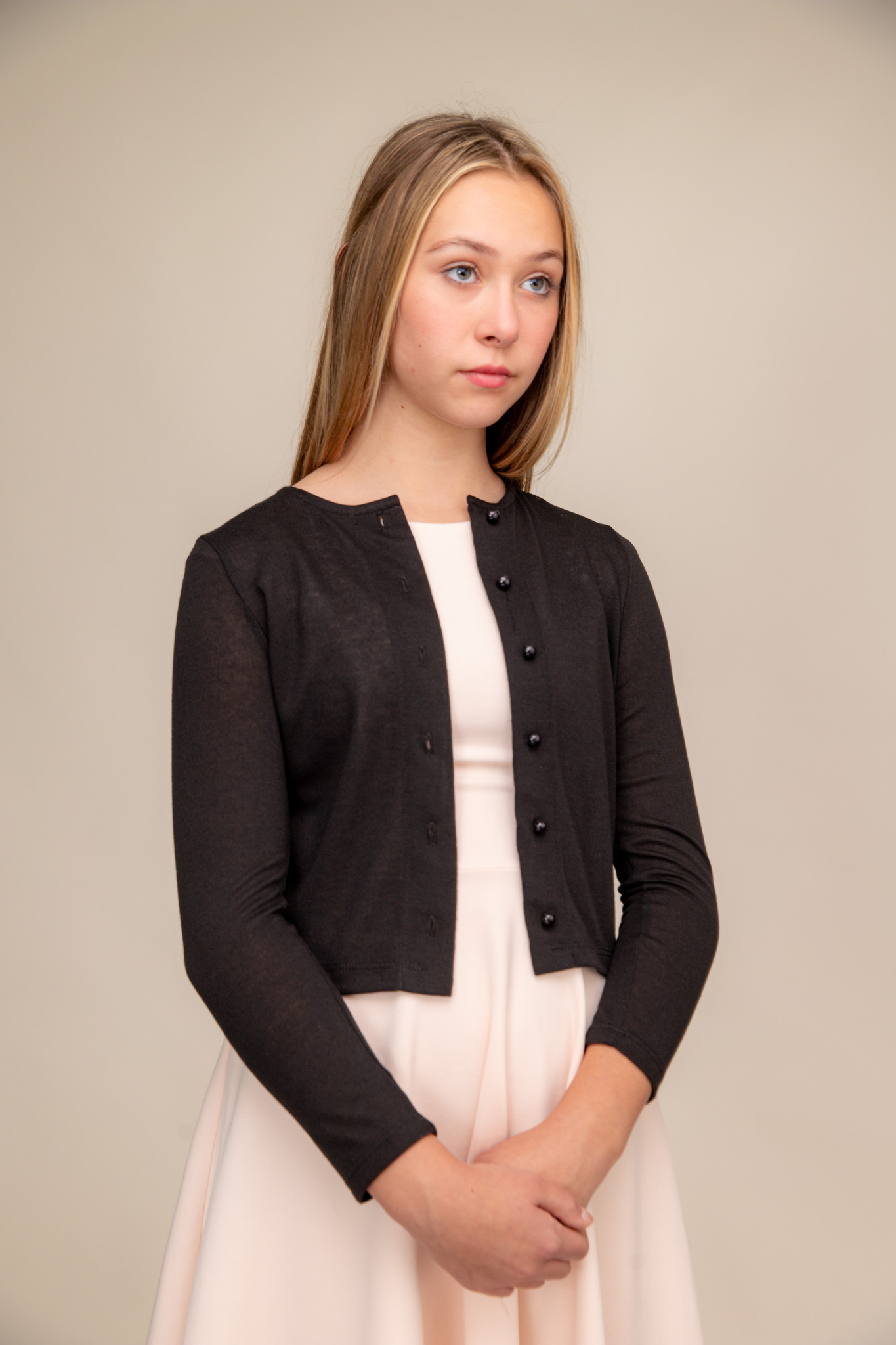 Button Up Cardigan in Black.