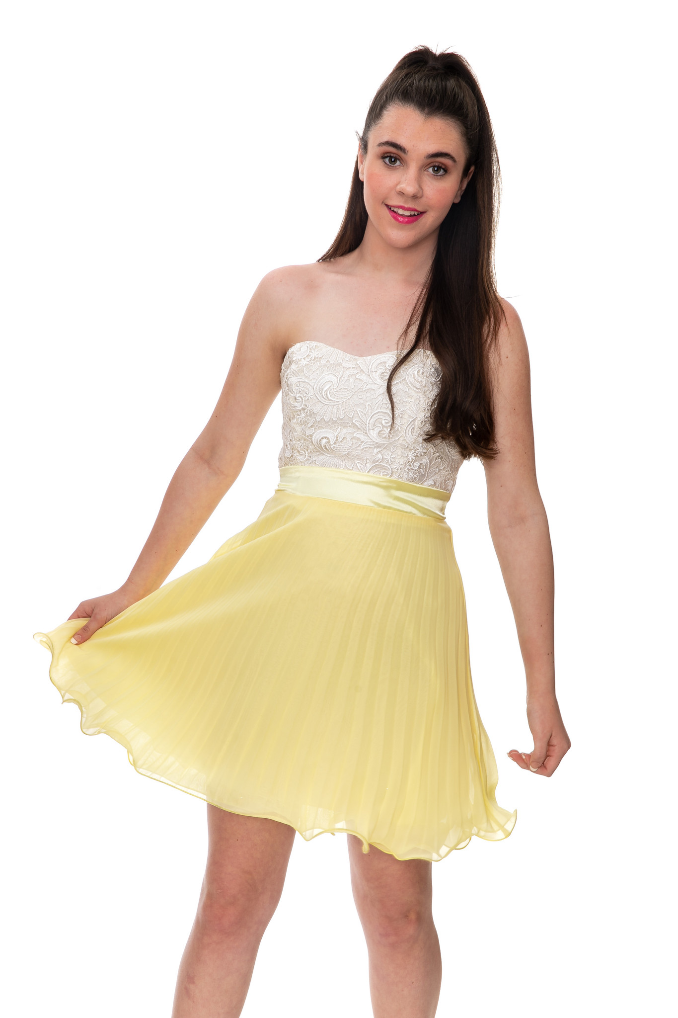 Junior Girls Yellow and Ivory Lace Pleated Party Dress Sale