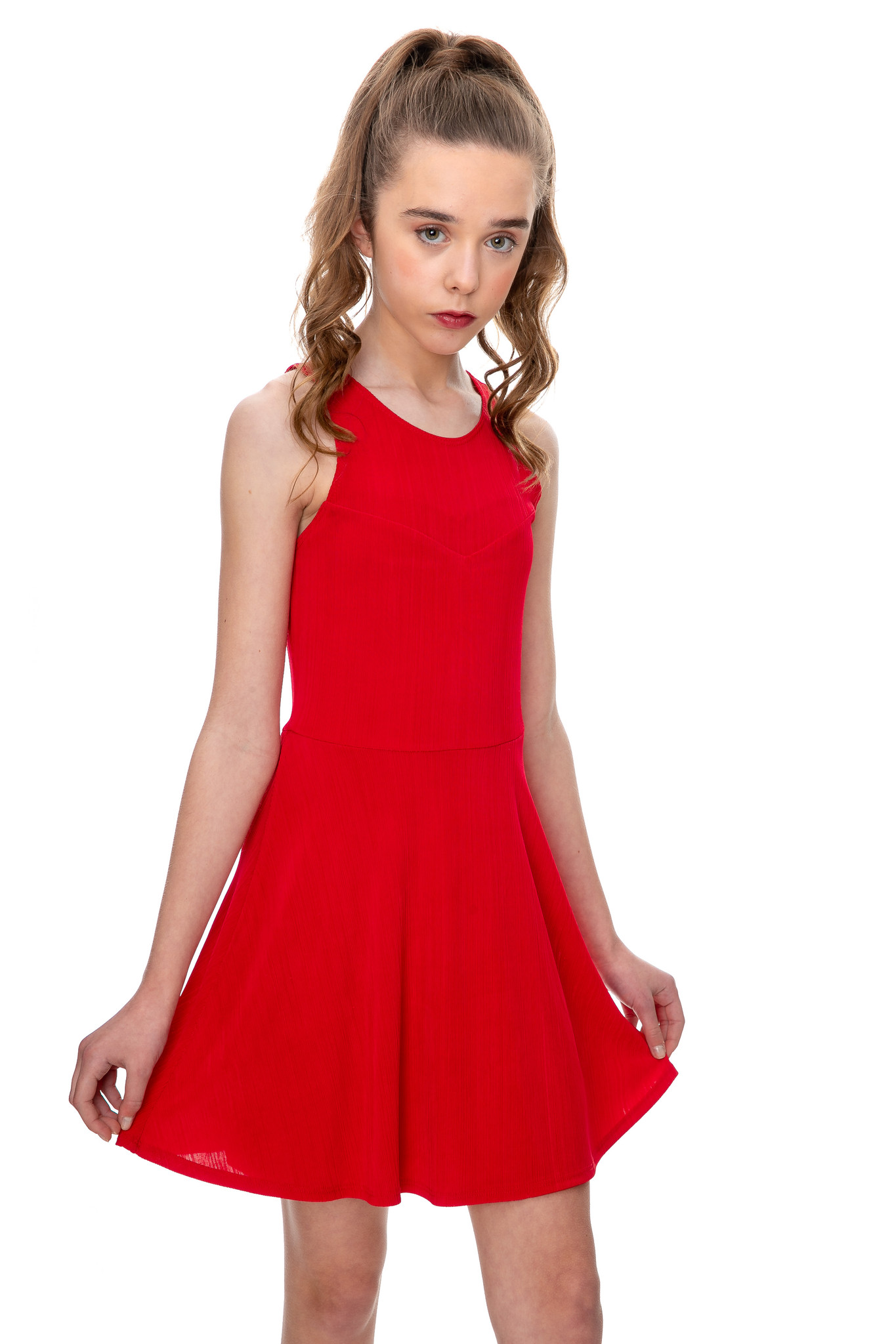 This is the sale Tween Girls Red Open Back Dress close view.
