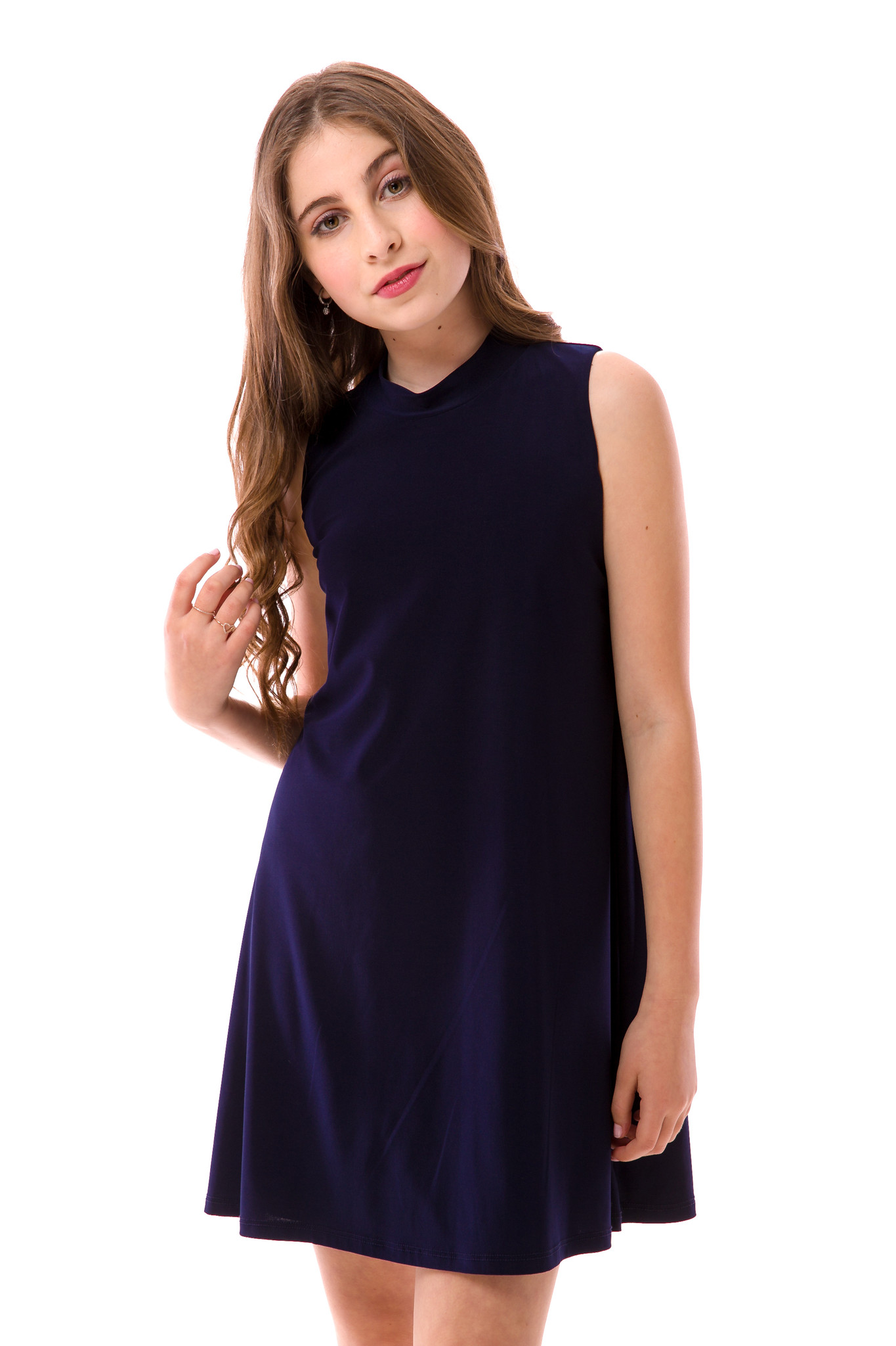 A close up shot of the Tween Girls High Neck Navy A Line Dress now on sale.