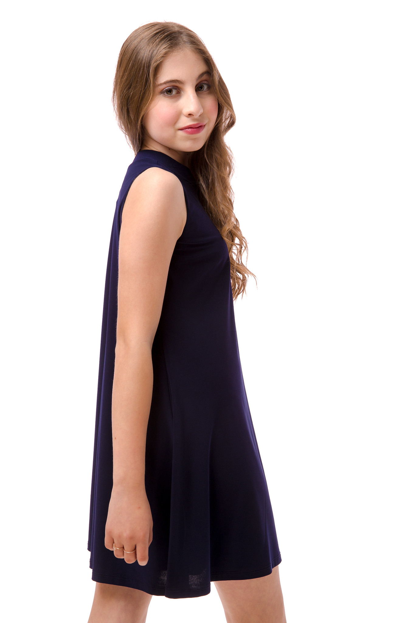 Side view of the Tween Girls High Neck Navy A Line Dress.