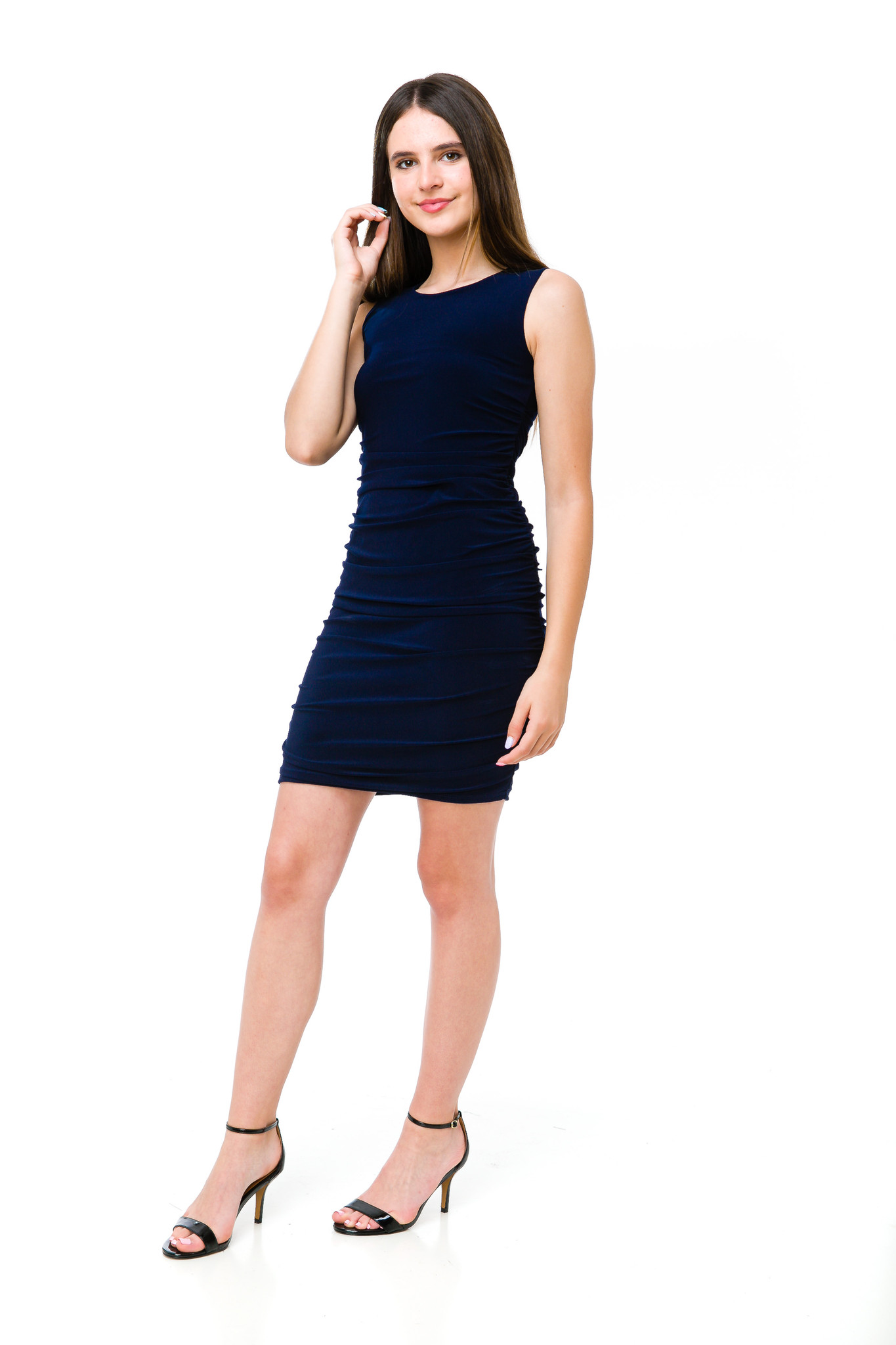 Tween Girls Navy Ruched Fitted Dress in Longer Length full body shot. This is an all over stretch fabric, made comfortable for any girl.